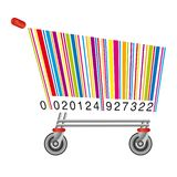Barcode in the shape of a caddy to symbolize consumption. Advertising concept showing a barcode in the shape of shopping cart symbol of consumption royalty free illustration