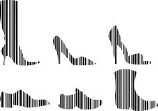 Barcode Shoes Set Stock Images