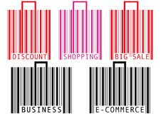 Barcode shopping bag and suitcase Stock Photos
