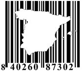 Barcode with Spain outline Stock Images