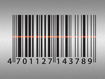 Barcode on stainless steel background Stock Image