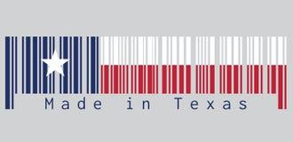 Barcode stellte die Farbe von Texas-Flagge, das Blau ein, das einen einzelnen zentrierten weißen Stern enthält horizontal weiße u lizenzfreie abbildung