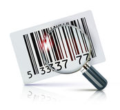 Barcode sticker. Vector illustration of cool identification barcode sticker with magnifying glass Stock Photography