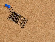 Barcode tacked to corkboard Stock Images