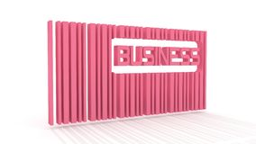 Barcode with text. Pink bar code with long shadow and business word within. 3D rendering Stock Photo