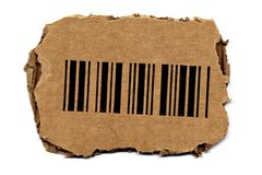 Barcode on Torned Cardboard Stock Photos