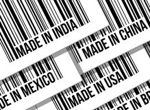 Barcode, trade war, business concept Stock Images