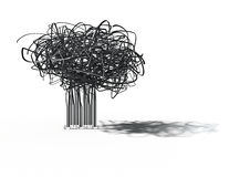 Barcode tree. 3D render of tree shape growing from barcode Stock Image