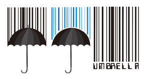 Barcode and umbrella Royalty Free Stock Photography