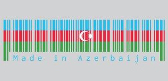 Barcode ustawia kolor flaga, błękit, czerwień i zieleń Azerbejdżan, z białą gwiazdą na popielatym tle i półksiężyc ilustracji