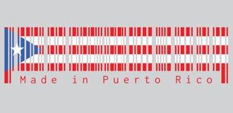 Barcode ustawia kolor Puerto Rico flaga, horyzontalni biali i czerwoni zespoły z równoramiennym trójbokiem opierającym się na dźw ilustracji