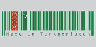 Barcode ustawia kolor Turkmeńska flaga, zieleni pole z czerwonym lampasem zawiera pięć dywanowych guls brogujących nad dwa krzyżu ilustracja wektor