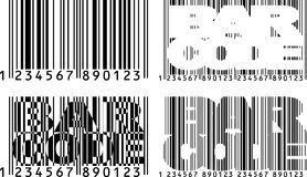 Barcode variations. Black and wihite barcode shapes with text Stock Photography