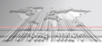 Barcode and world Stock Photography