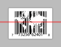 Barcode with world map over gray Stock Photo