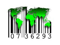 Barcode world maps. As illustration of buying selling Royalty Free Stock Photo