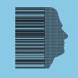 barcodehumanprofil Arkivfoton