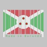 Barcoden ställde in den burundiska flaggan för färg, grön rött och vitt och stjärna tre vektor illustrationer