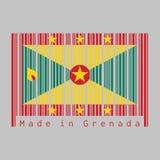 Barcoden ställde in färgen av den Grenada flaggan, en stor röd gräns runt om flaggan med sex guld- guld- och gröna trianglar för  royaltyfri illustrationer