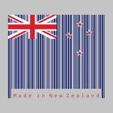 Barcoden ställde in färgen av den nyazeeländska flaggan, en blå flagga med södra korset av fyra stjärnor som centrerades på den y vektor illustrationer
