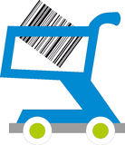 barcodes cart inom shopping Arkivfoton