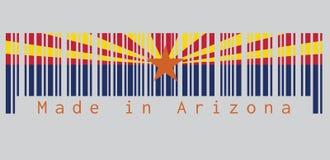 Barcodeuppsättning färgen av den Arizona flaggan, tillstånden av Amerika, rött och svetsning-guling på den bästa halvan arkivfoton