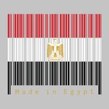 Barcodeuppsättning färgen av den Egypten flaggan, röd vitsvartfärg med den egyptiska örnen av Saladin text: Gjort i Egypten vektor illustrationer