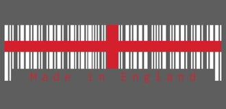 Barcodeuppsättning färgen av den England flaggan, rött centrerat kors på en vit bakgrund text: Gjort i England stock illustrationer