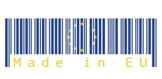 Barcodeuppsättning färgen av den europeiska fackliga flaggan, den blåa färgen och gulingstjärna på vit bakgrund med text: Gjort i stock illustrationer