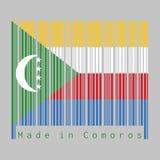 Barcodeuppsättning som färgen av Comoros sjunker, gul vitt rött och blått med den gröna sparren, halvmånformigt och stjärnan vektor illustrationer