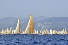 Barcolana 2008. Boats at start with Maxijena (2nd) and Alda Romeo (1st). For 40 years the Barcolana has been the regatta for everyone. From huge sailing yachts Royalty Free Stock Image