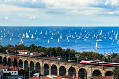 The Barcolana regatta in the gulf of Trieste. One of the biggest regatta in the world with more than 2100 boats: the Barcolana Royalty Free Stock Photos