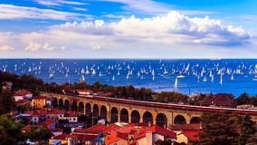 The Barcolana regatta in the gulf of Trieste. One of the biggest regatta in the world with more than 2100 boats: the Barcolana Stock Photo
