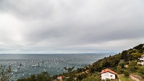 Barcolana regatta of Trieste. One of the biggest regatta in the world: the Barcolana Stock Image