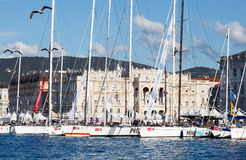 Barcolana, 2013. TRIESTE, ITALY - 11 OCTOBER 2012: Sailboats in the pier after the 45 Barcolana regatta on October 11, 2013 Stock Images