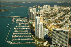 Ciudad y puerto deportivo de Miami Fotografía de archivo libre de regalías
