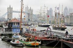 Barcos adornados con las banderas Foto de archivo libre de regalías
