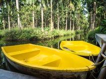 Barcos amarillos en jardín de la palma Imagen de archivo