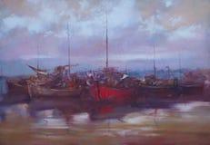 Barcos amarrados en la pintura hecha a mano del puerto Foto de archivo