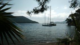 Barcos amarrados a la orilla en una bahía abrigada 4K metrajes