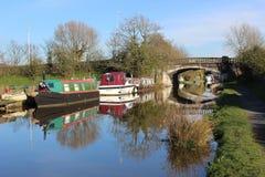 Barcos amarrados no canal de Lancaster em Garstang Fotografia de Stock