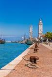 Barcos amarrados no canal do porto Foto de Stock Royalty Free