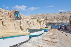 Barcos azuis da gruta para baixo Foto de Stock Royalty Free