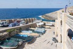 Barcos azuis da gruta para baixo Fotos de Stock Royalty Free