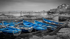 Barcos azuis de Essaouira Imagem de Stock