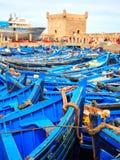 Barcos azuis de Essaouira, Marrocos Fotos de Stock Royalty Free