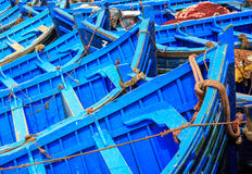 Barcos azules de Essaouira, Marruecos Fotografía de archivo