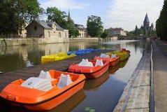 Barcos coloridos en Metz Fotos de archivo libres de regalías