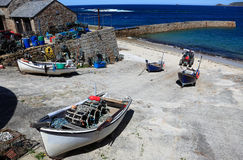 Barcos da angra de Sennen Foto de Stock