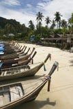 Barcos da cauda longa ao longo da praia Imagens de Stock